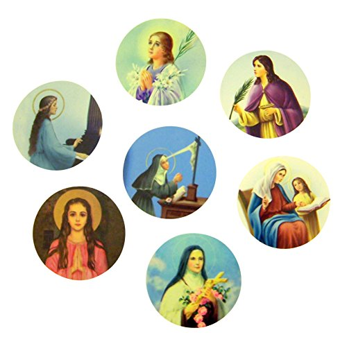 Assorted Catholic Female Patron Saint Adhesive Stickers, Roll of 100