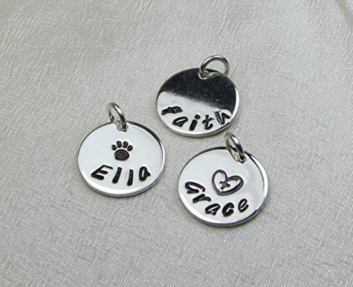 Hand Stamped Charm Sterling Silver 1/2
