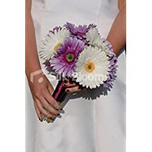 Modern Lilac & White Real Touch Gerbera Bridal Wedding Bouquet