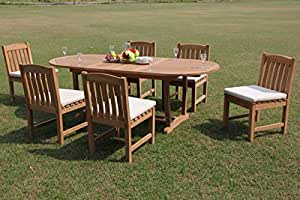 "Grade-A Teak Wood 6 Seater 7 Pc Dining Set: 94"" Mas Oval Trestle Leg Table and 6 Devon Armless Chairs #WFDSDV21"