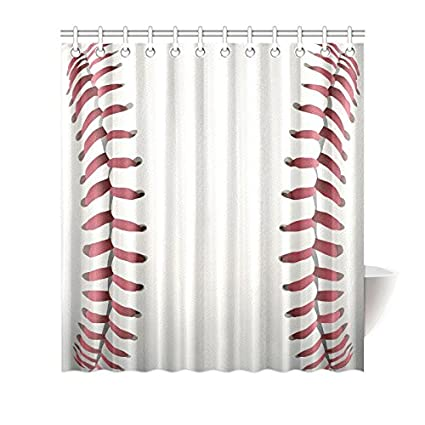 Superieur InterestPrint Funny Sports Waterproof Shower Curtain Decor, Closeup Of  Baseball Cool Sports Fabric Bathroom Set