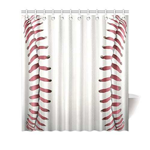InterestPrint Funny Sports Waterproof Shower Curtain Decor, Closeup of Baseball Cool Sports Fabric Bathroom Set with Hooks, 66(Wide) x 72(Height) Inches