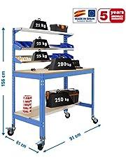 Banco de trabajo con ruedas BT1 Azul/Madera Simonrack 1560x910x610 mms 280 Kgs de capacidad total al llevar ruedas