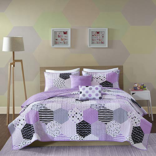 Urban Habitat Kids Trixie Full/Queen Bedding for Girls Quilt Set - Purple, Geometric - 5 Piece Kids Girls Quilts - Cotton Quilt Sets Coverlet (Black Purple And White Bedding)