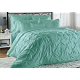 Unique Home 8-Piece Lucilla Pinch Pleat Comforter Set - Fade Resistant, Wrinkle Free, No Ironing Necessary, Super Soft - King, Blue