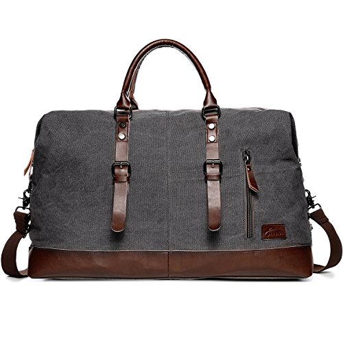Fresion Portable Outdoor Holdall Canvas Handbag with Genuine Leather for Travel(Grey)