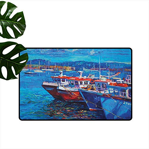 (ParadiseDecor Country,Floor Mats Sail Boats Ships on The Shore Harbor by The Sea Small Rural Fishing Town Artwork 24