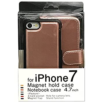 b5a7aa01e2 Amazon | iPhone7用手帳型ケース マグネットタイプ ピンクゴールド BJMG ...