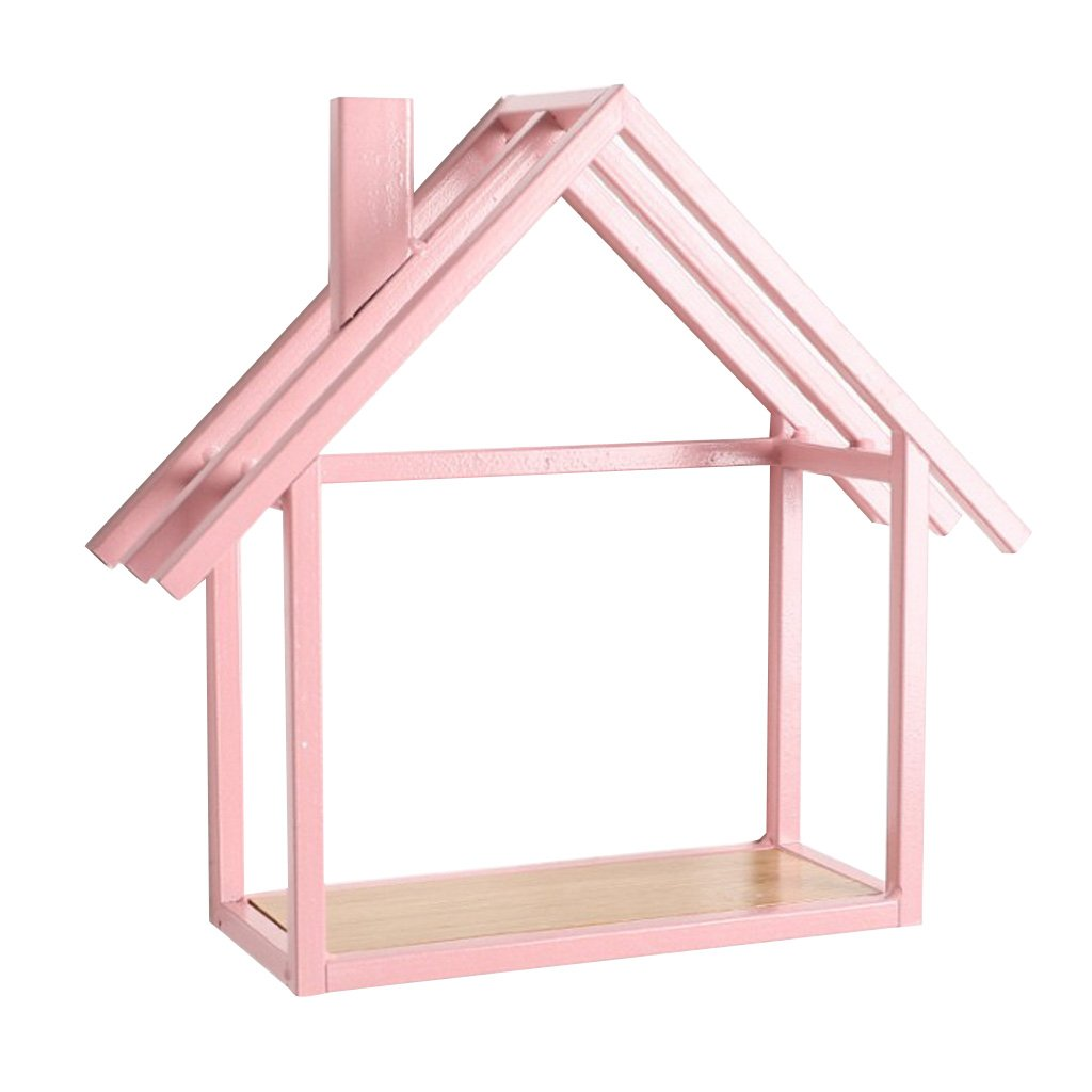 B Blesiya Pink House Shape Picture Ledge Wall Floating Shelf Book Holder Spice Rack