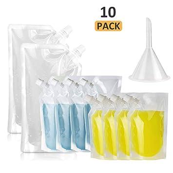 STARVAST - Juego de 10 botellas de plástico reutilizables transparentes para bebidas con embudo de plástico