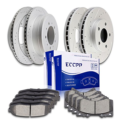 Automotive Replacement Brake Kits,ECCPP Full Set Discs Brake Rotors and Ceramic Disc Brake Pads Kit for 2008-2016 Toyota Sequoia,2016 Toyota Land Cruiser,2010-2015 Toyota Tundra,Front and Rear