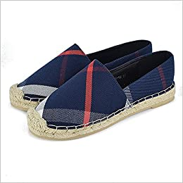 Tengyu Womens Espadrilles Flats Original Slip On Loafer Shoes Classic Canvas Comfort Alpargatas (US9=EU40=25CM, Blue) Apparel