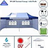 10'x20′ Ez Pop up Canopy Party Tent Instant Gazebos 100% Waterproof Top with 6 Removable Sides Blue/White – E Model By DELTA Canopies Review