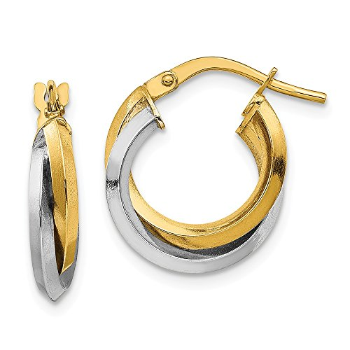 (14k Two Tone Yellow Gold Double Hoops Hoop Fine Jewelry Gifts For Women For Her)