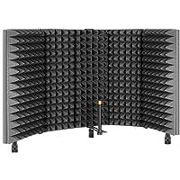 TRUE NORTH Escudo de aislamiento de micrófono con pies de escritorio y soporte – aislamiento de cabina vocal portátil…