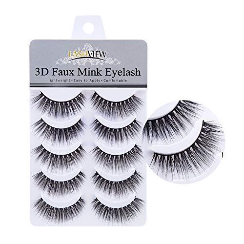 LASHVIEW False Eyelashes,Mink Fake Eyelashes,Comfortable and Soft,3D Natural Layered Effect,Handmade Lashes Wispies,Environmental Silk Lashes,Reusable Natural Look False Eyelashes for Makeup