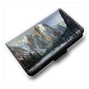 Bierstadt - Cathedral Rocks Yosemite, Negro Cuero de la PU Caso, Flip Soporte Protección Carcasa con Cierre Magnético para Samsung Galaxy Trend / Duos