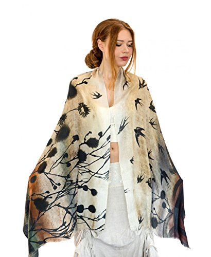 Delicately Hand Painted & Digitally Printed Yellow Swallows Bird Summer Scar Shawl by Shovava