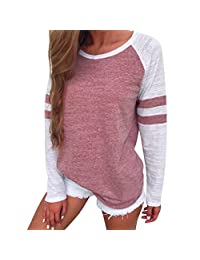 ASTV Loose Long Sleeve Splice Crewneck Sweatshirt Tops T Shirt For Womens