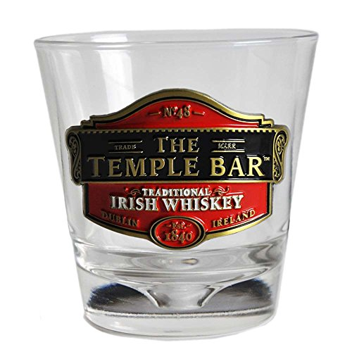 (Whiskey Glass With Temple Bar Traditional Irish Whiskey Metal Badge Design)