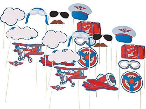 Fun Express Inc. Up & Away Photo Stick Props (24 Pack) Aviator, Pilot-themed Party.