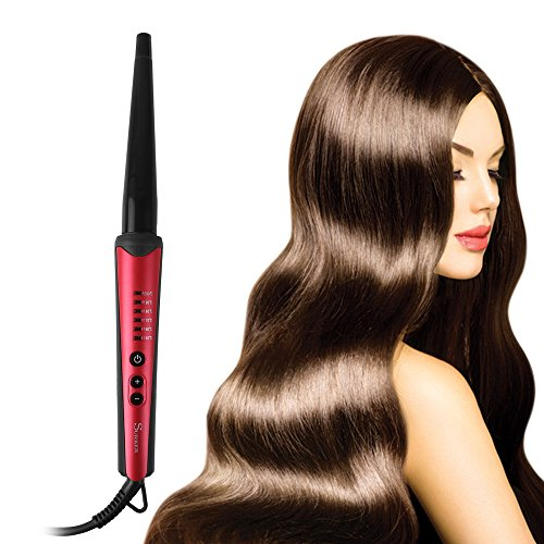 Price comparison product image YUNAI Magic Hair Curler Ceramic Curling Wand Long-lasting Cone Curling Iron 1/2'' to 1'' Professional Slim Styling Wand EU Plug