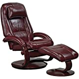 Mac Motion Oslo Collection by Bergen Recliner and Ottoman in Merlot Top Grain Leather