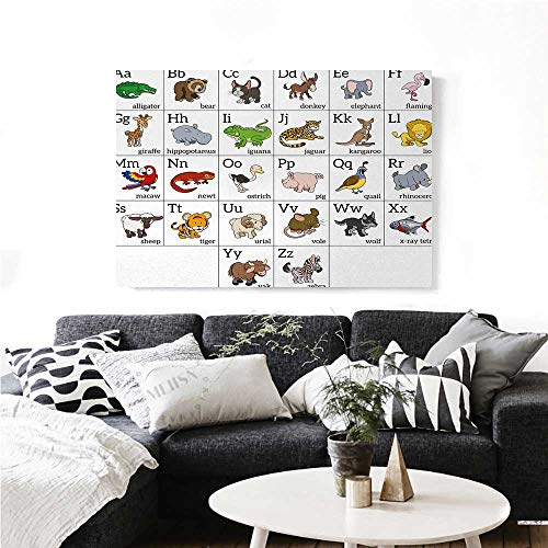 """homehot Educational Wall Art Canvas Prints Alphabet Learning Chart with Cartoon Animals Names Letters Upper and Lowercase Ready to Hang for Home Decorations Wall Decor 48""""x32"""" Multicolor"""