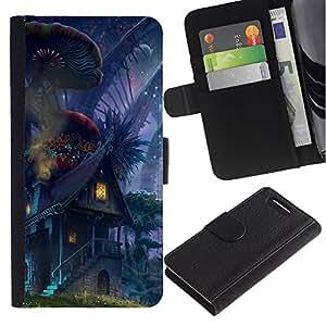 Caso Billetera de Cuero Titular de la tarjeta y la tarjeta de crédito de la bolsa Slot Carcasa Funda de Protección para Sony Xperia Z1 Compact D5503 Fairytale World Alien Universe Elf