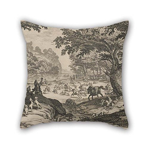 (eyeselect The Oil Painting Jacques Callot - The Stag Hunt Pillow Covers of 18 X 18 Inches / 45 by 45 cm Decoration Gift for Son Chair Home Office Home Theater Club Divan (Twice Sides) for Christmas)