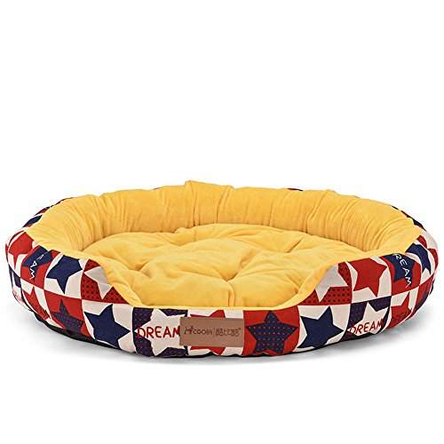 Yiuu Deluxe Soft Washable Dog Pet Warm Basket Bed Cushion with Dog Bed Cat Bed for Small Medium & Large Dogs,Yellow,L -