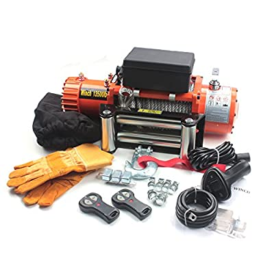 AC-DK 12V 13500 lb Stainless stell&Synthetic Rope Electric Winch- Recovery- Off Road - with 2 Wireless (with Steel Rope)