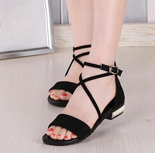 Frauen Sandalen Sommer Kreuzgurte runde Perle mit niedrigen Absätzen Sandalen Mode Schuhe schwarz