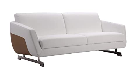 Zuri Furniture Modern Armondo Sofa in Two Tone White Microfiber Leather and Camel Accent