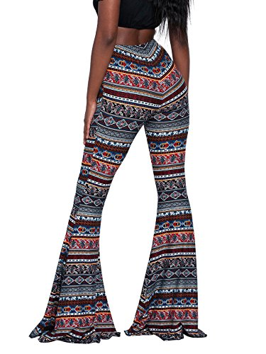 (Govc Women Casual Print Stretchy Bell Bottom Flare Palazzo Skinny Pants High Waist Trousers(Navy,S))