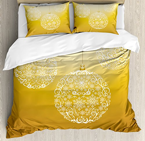 Ambesonne Christmas Duvet Cover Set, Merry Xmas Round Baubles Hanging in the Air Advent Season Feelings Holy Day Print, 3 Piece Bedding Set with Pillow Shams, Queen/Full, Mustard by Ambesonne