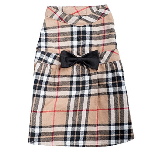 Tan Plaid Dress, Tan, M
