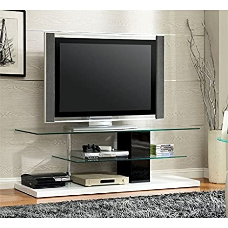 Amazon Com Bowery Hill 63 Glass Top Tv Stand In White Kitchen