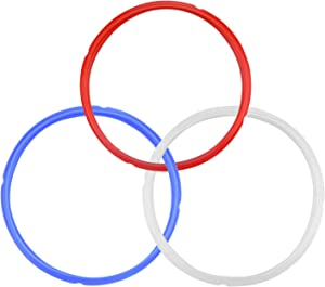 3 Pcs Silicone Sealing Ring for 5/6 qt Pressure Cookers Instant Pot Accessories Leak Proof BPA-Free Food-grade Replacement Silicone Seal Gaskets (Red/Blue/White)