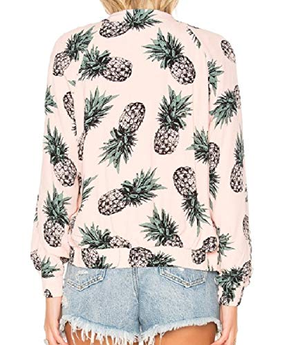 Picture Zipper Print Womens Short Autumn Pineapple As Stylish Mogogo Overcoat XzqwFUxw4