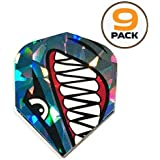 Art Attack 9 Pack Harrows Hologram Angry Ocean Shark 75 Micron Strong Dart Flights
