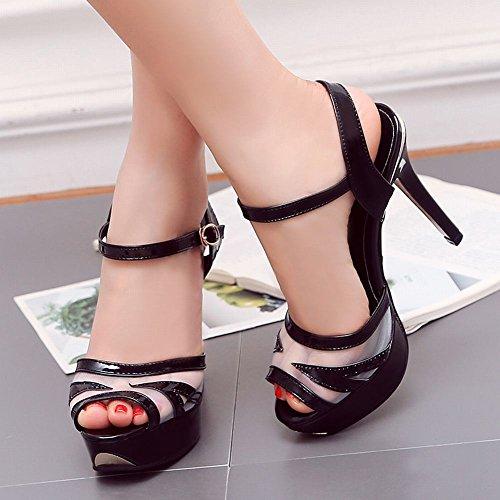 Mee Shoes Damen High Heels Strass Offener Zeh Sandalen Pantoletten