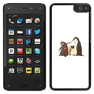 // PHONE CASE GIFT // Duro Estuche protector PC Cáscara Plástico Carcasa Funda Hard Protective Case for Amazon Fire Phone / Funny Movie Penguins White Kids /