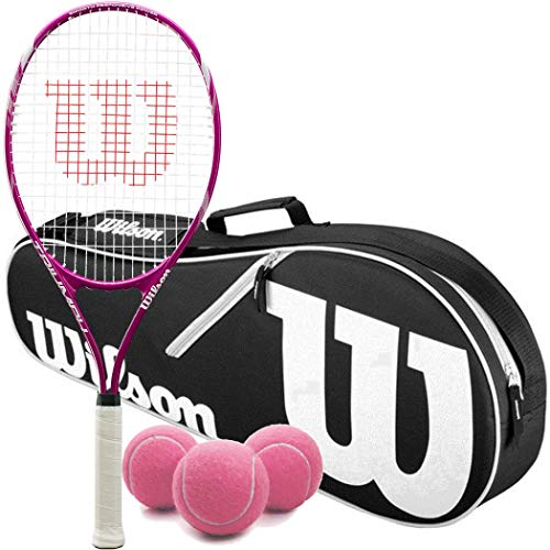 Wilson Triumph Pre-Strung Recreational Tennis Racquet Set or Kit Bundled with a Black/White Advantage 2-Pack Tennis Bag and a Can of Pink Tennis Balls