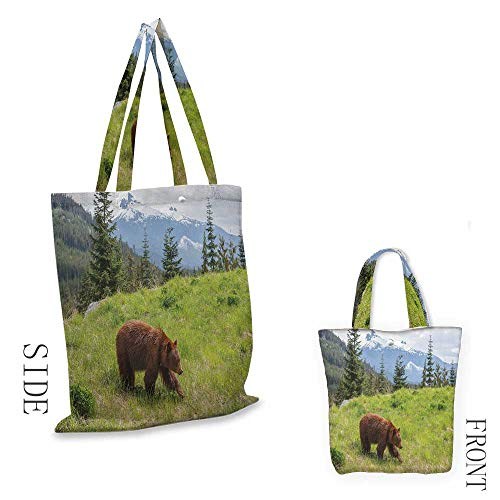 BearWashable shopping bagWildlife up in the Mountains Theme Furry Animal Carnivore Yellowstone Nature HabitatHandmade shopping bags W15.75 x L13.78 Inch Green Brown (Family Shopping Partridge Bag)