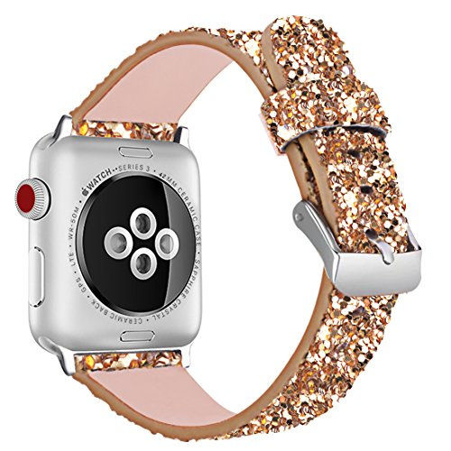 iiteeology Compatible with Apple Watch Band 38mm 40mm 42mm 44mm, Christmas Sparkly 3D Glitter Bling Leather iWatch Band for Apple Watch Series 4/3/2/1 Women Girls (Gold, 42mm)