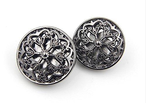 Flower Metal Buttons (Flower Hollow Metal Shank Buttons for Fashion Coats (Gun black/Silver /Gold /Tea gold, Pack of 6) (0.98 inches, Gun black))