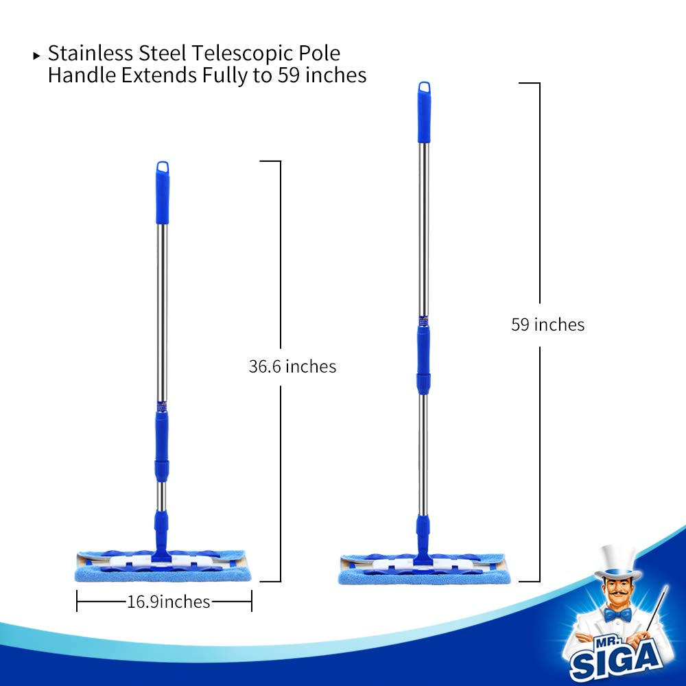 MR. SIGA Professional Microfiber Mop,Stainless Steel Handle - Pad Size: 42cm x23cm, 2 Free Microfiber Cloth Refills and 1 Dirt Removal Scrubber Included by MR.SIGA (Image #3)