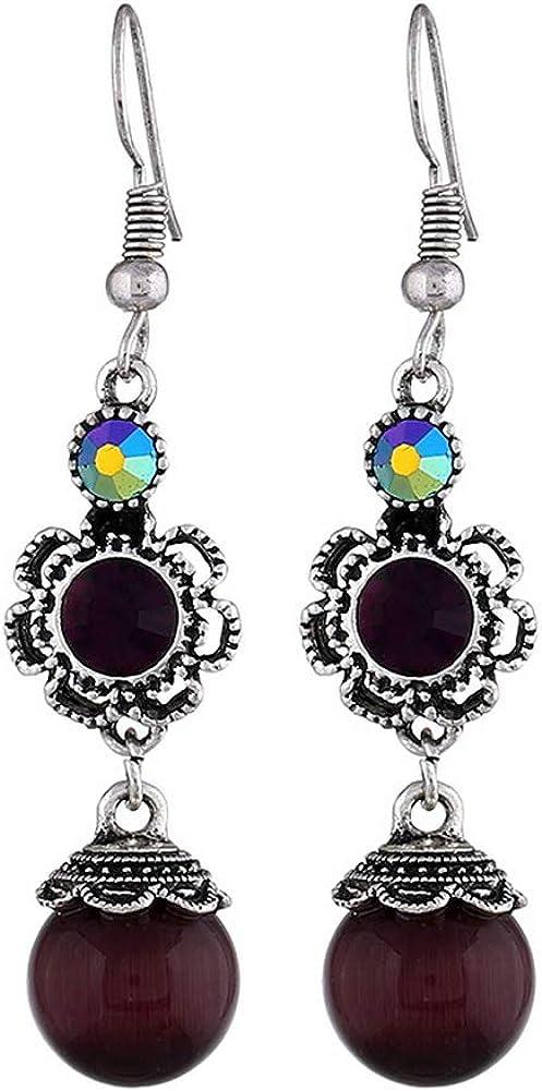 YAZILIND Vintage hueco de diamantes de imitación de flores ronda de piedras preciosas colgante aretes mujeres fiesta joyas regalo