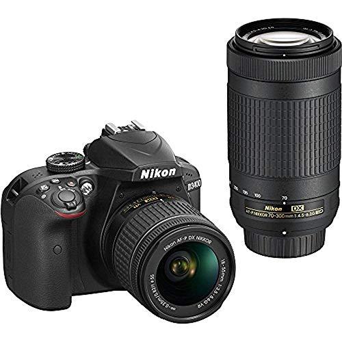 Nikon D3400 24.2MP DSLR Camera with AF-P 18-55 VR and 70-300m Lenses (1573B) - (Certified Refurbished)